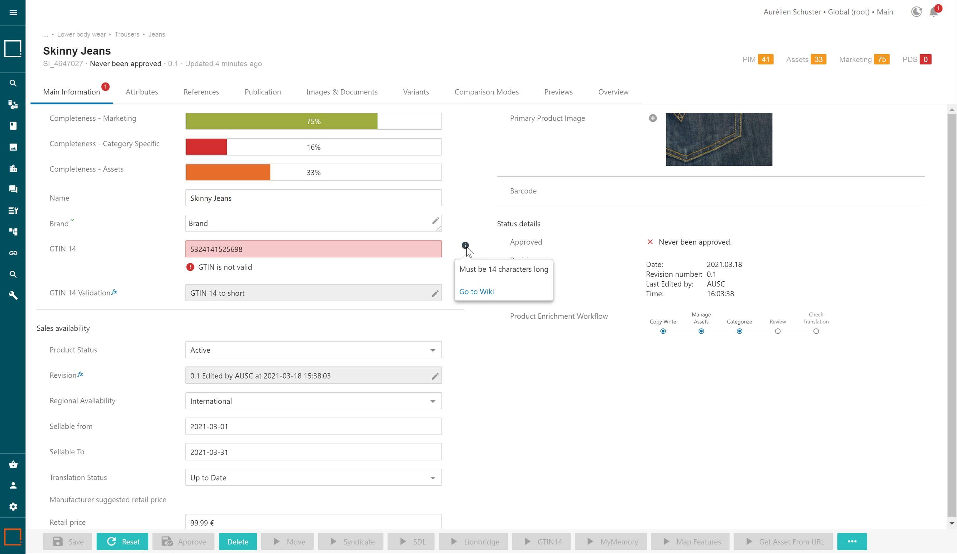 Product data governance accountability