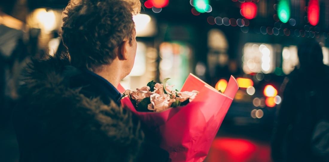 Man shopping on Valentine's Day